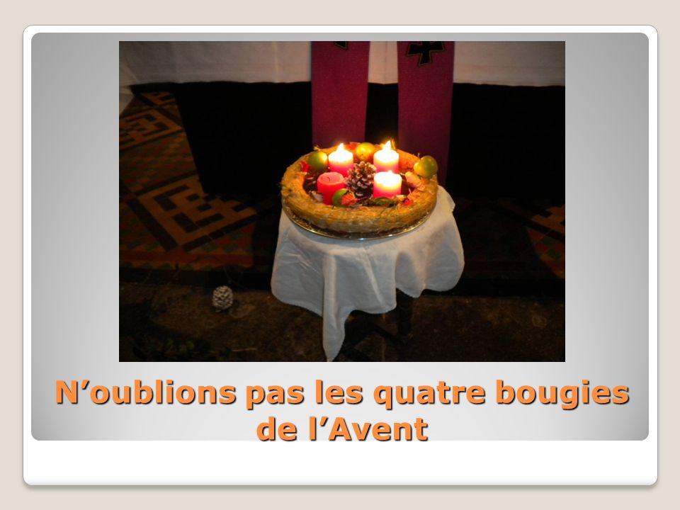 Noublions pas les quatre bougies de lAvent