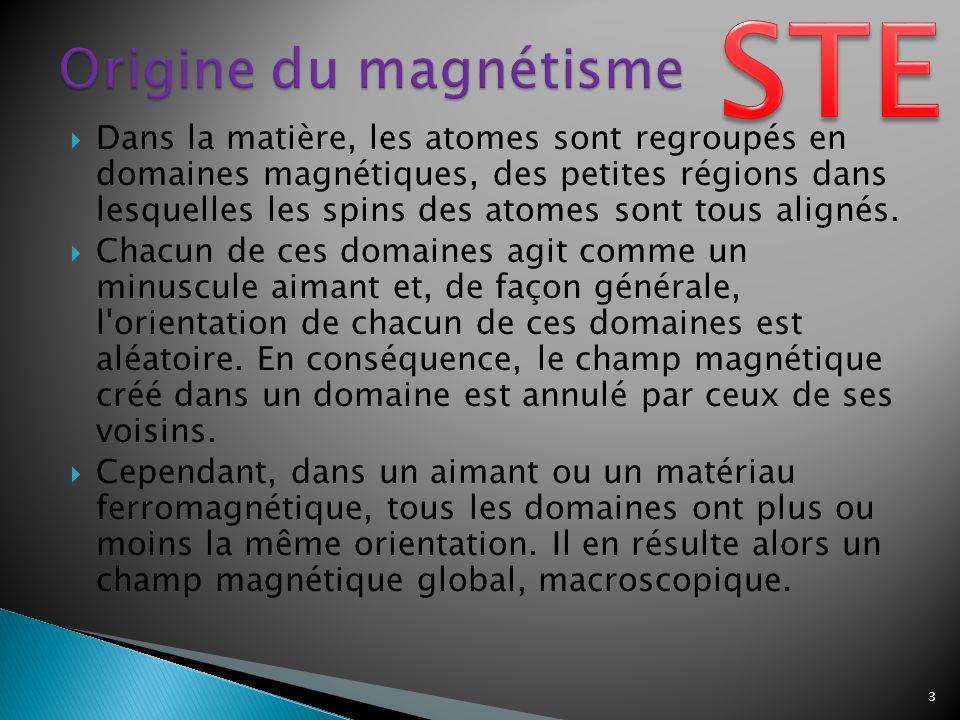 Dans la matière, les atomes sont regroupés en domaines magnétiques, des petites régions dans lesquelles les spins des atomes sont tous alignés.