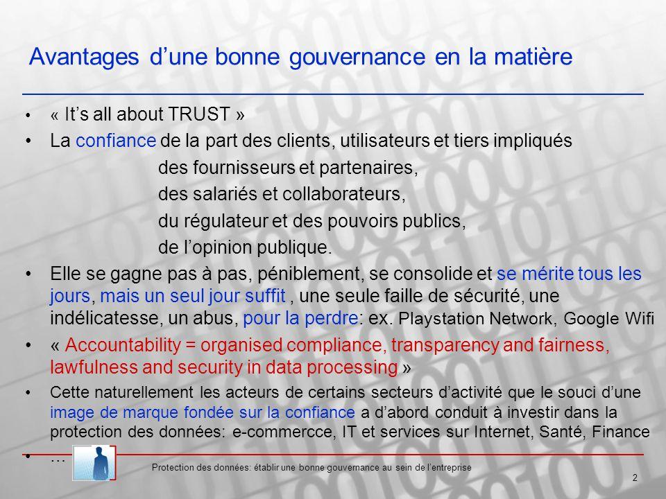 Avantages dune bonne gouvernance en la matière « Its all about TRUST » La confiance de la part des clients, utilisateurs et tiers impliqués des fournisseurs et partenaires, des salariés et collaborateurs, du régulateur et des pouvoirs publics, de lopinion publique.