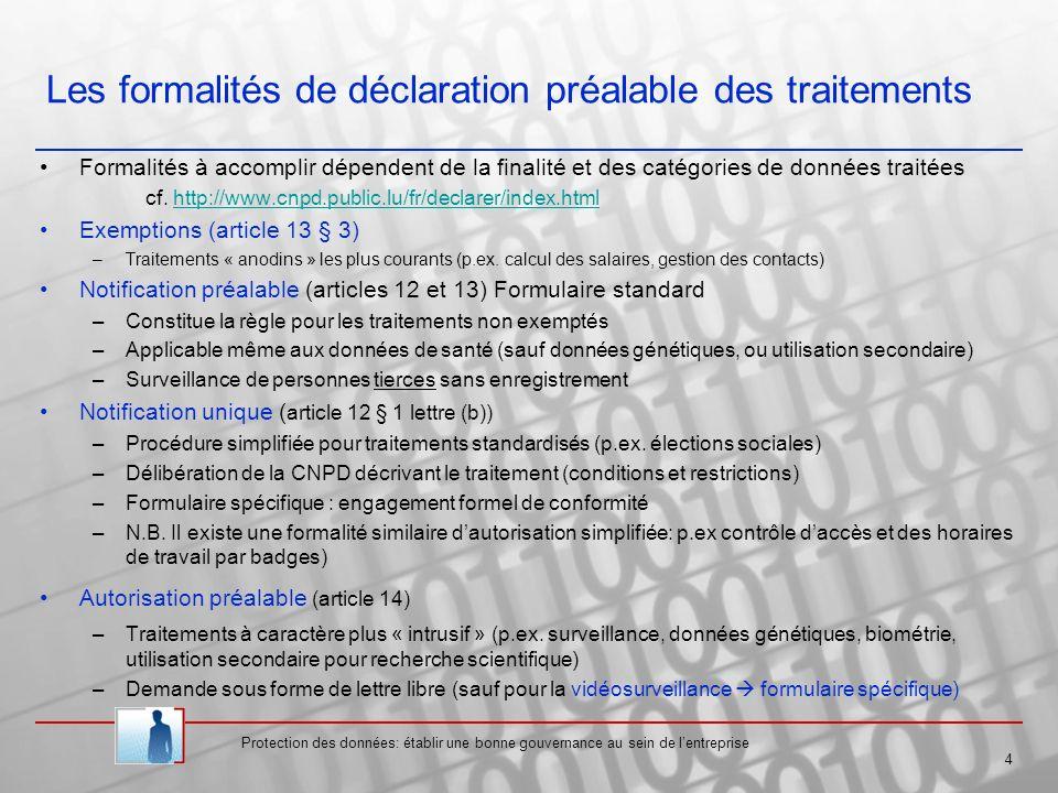Protection des données: établir une bonne gouvernance au sein de lentreprise 4 Les formalités de déclaration préalable des traitements Formalités à accomplir dépendent de la finalité et des catégories de données traitées cf.