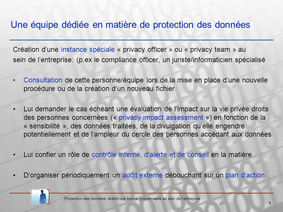 Protection des données: établir une bonne gouvernance au sein de lentreprise 8 Une équipe dédiée en matière de protection des données Création dune instance spéciale « privacy officer » ou « privacy team » au sein de lentreprise: (p.ex le compliance officer, un juriste/informaticien spécialisé Consultation de cette personne/équipe lors de la mise en place dune nouvelle procédure ou de la création dun nouveau fichier Lui demander le cas échéant une évaluation de limpact sur la vie privée droits des personnes concernées (« privacy impact assessment ») en fonction de la « sensibilité », des données traitées, de la divulgation quelle engendre potentiellement et de lampleur du cercle des personnes accédant aux données Lui confier un rôle de contrôle interne, dalerte et de conseil en la matière Dorganiser périodiquement un audit externe débouchant sur un plan daction