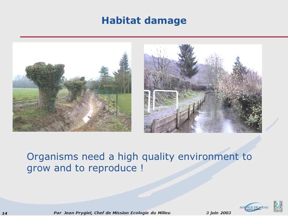 14 Par Jean Prygiel, Chef de Mission Ecologie du Milieu 3 juin 2003 Habitat damage Organisms need a high quality environment to grow and to reproduce !