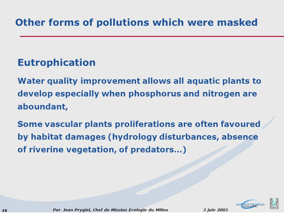 16 Par Jean Prygiel, Chef de Mission Ecologie du Milieu 3 juin 2003 Eutrophication Water quality improvement allows all aquatic plants to develop especially when phosphorus and nitrogen are aboundant, Some vascular plants proliferations are often favoured by habitat damages (hydrology disturbances, absence of riverine vegetation, of predators…) Other forms of pollutions which were masked