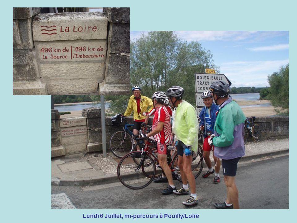 Lundi 6 Juillet, mi-parcours à Pouilly/Loire