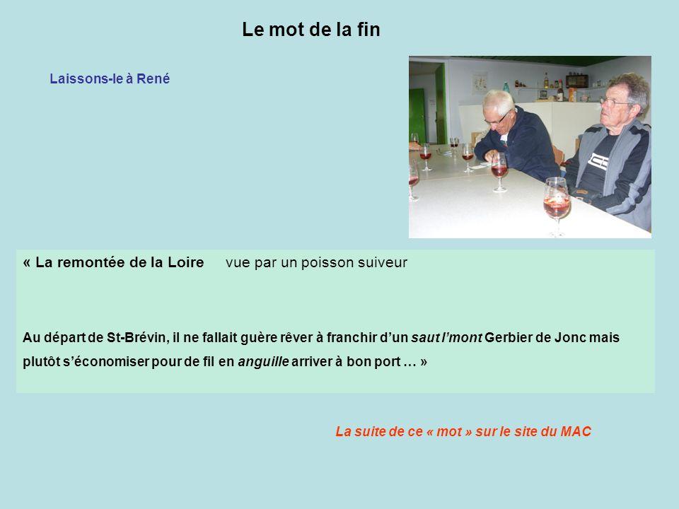 « La remontée de la Loire vue par un poisson suiveur Au départ de St-Brévin, il ne fallait guère rêver à franchir dun saut lmont Gerbier de Jonc mais plutôt séconomiser pour de fil en anguille arriver à bon port … » Le mot de la fin Laissons-le à René La suite de ce « mot » sur le site du MAC