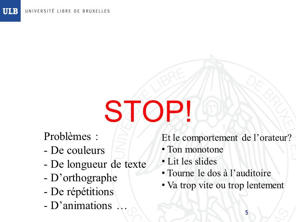 25 Plan de lexposé Introduction Structure d une présentation Règles et conseils – texte – graphiques – animations Comportement de l orateur Derniers conseils Conclusions