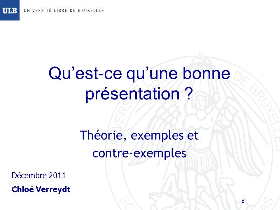 Structures: Questions Terminer votre présentation par une simple slide de questions: – Cela invite les auditeurs à vous poser des questions – Cela évite de terminer abruptement – Cest un support neutre pour le temps des questions