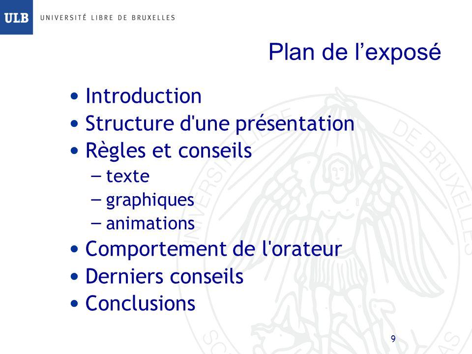 9 Plan de lexposé Introduction Structure d une présentation Règles et conseils – texte – graphiques – animations Comportement de l orateur Derniers conseils Conclusions