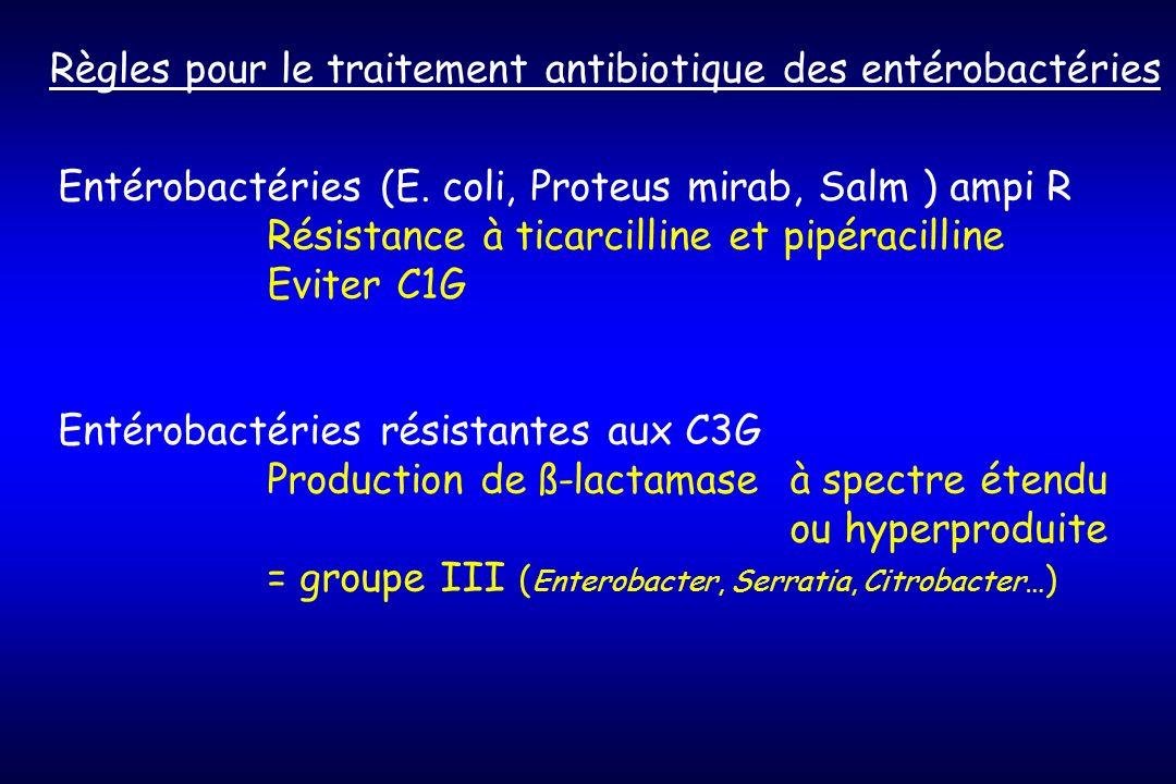 Règles pour le traitement antibiotique des entérobactéries Entérobactéries (E.