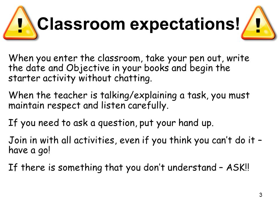 Classroom expectations! When you enter the classroom, take your pen out, write the date and Objective in your books and begin the starter activity wit