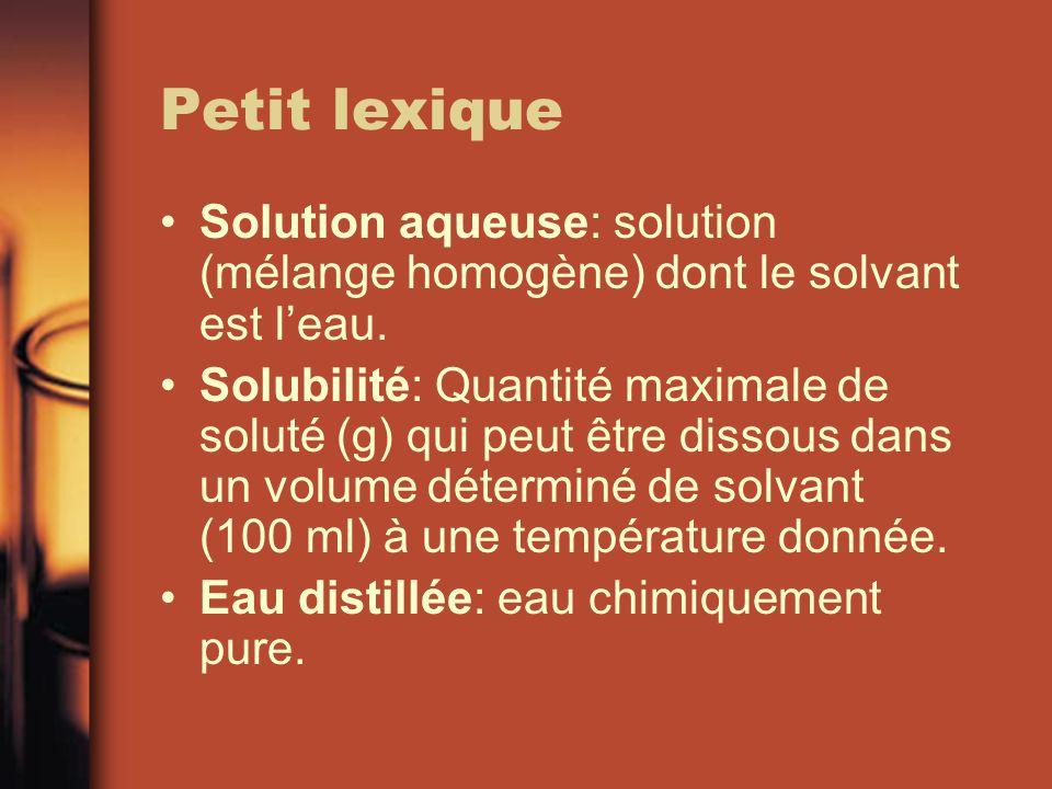 Petit lexique Solution aqueuse: solution (mélange homogène) dont le solvant est leau. Solubilité: Quantité maximale de soluté (g) qui peut être dissou