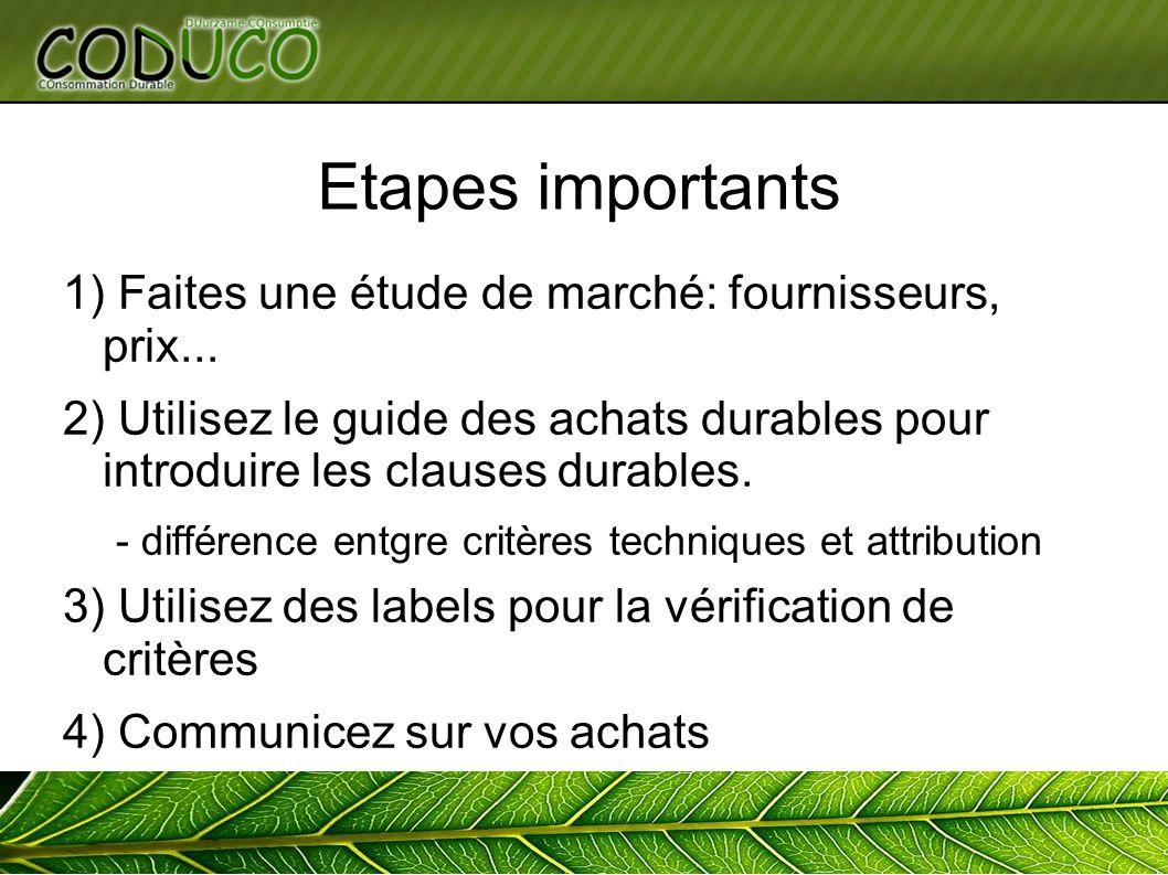 Etapes importants 1) Faites une étude de marché: fournisseurs, prix... 2) Utilisez le guide des achats durables pour introduire les clauses durables.