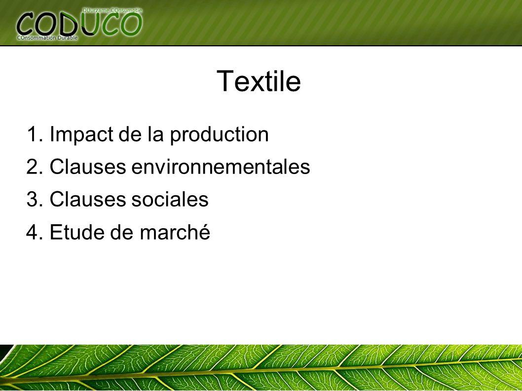 Textile 1. Impact de la production 2. Clauses environnementales 3. Clauses sociales 4. Etude de marché