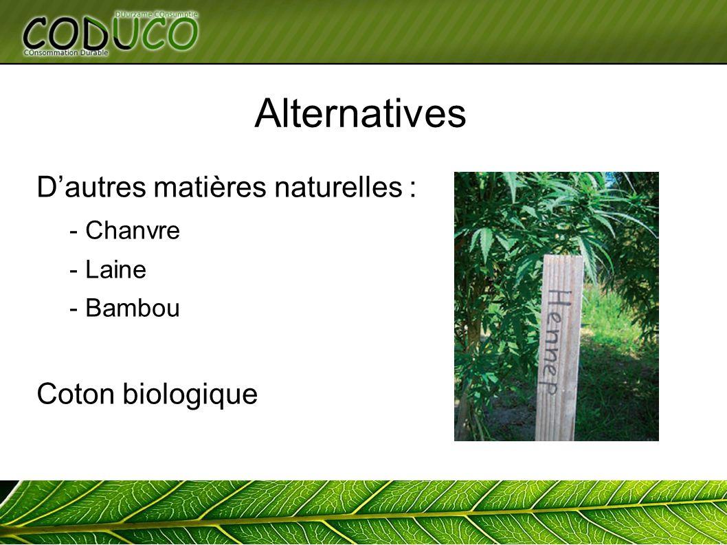 Alternatives Dautres matières naturelles : - Chanvre - Laine - Bambou Coton biologique