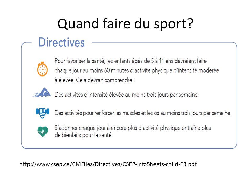 Quand faire du sport? http://www.csep.ca/CMFiles/Directives/CSEP-InfoSheets-child-FR.pdf