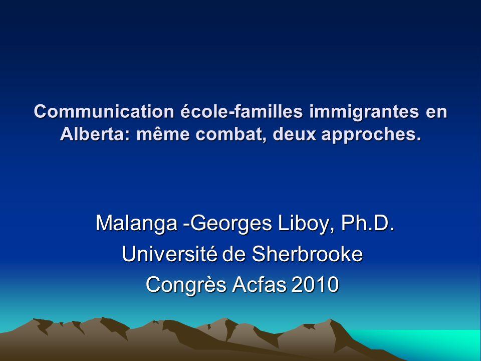 Choix du sujet Considérations dordre familial - Besoins des familles immigrantes Considérations dordre professionnel - Interactions école-famille Considérations dordre social - Intégration scolaire et sociale des jeunes et des familles immigrantes