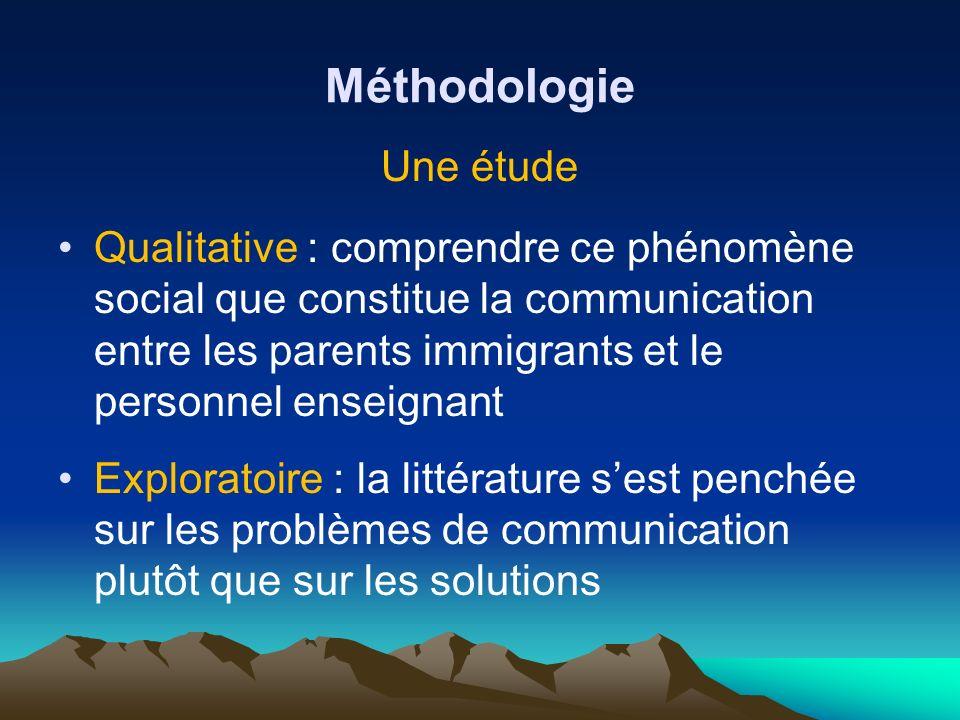 Méthodologie Une étude Qualitative : comprendre ce phénomène social que constitue la communication entre les parents immigrants et le personnel enseig