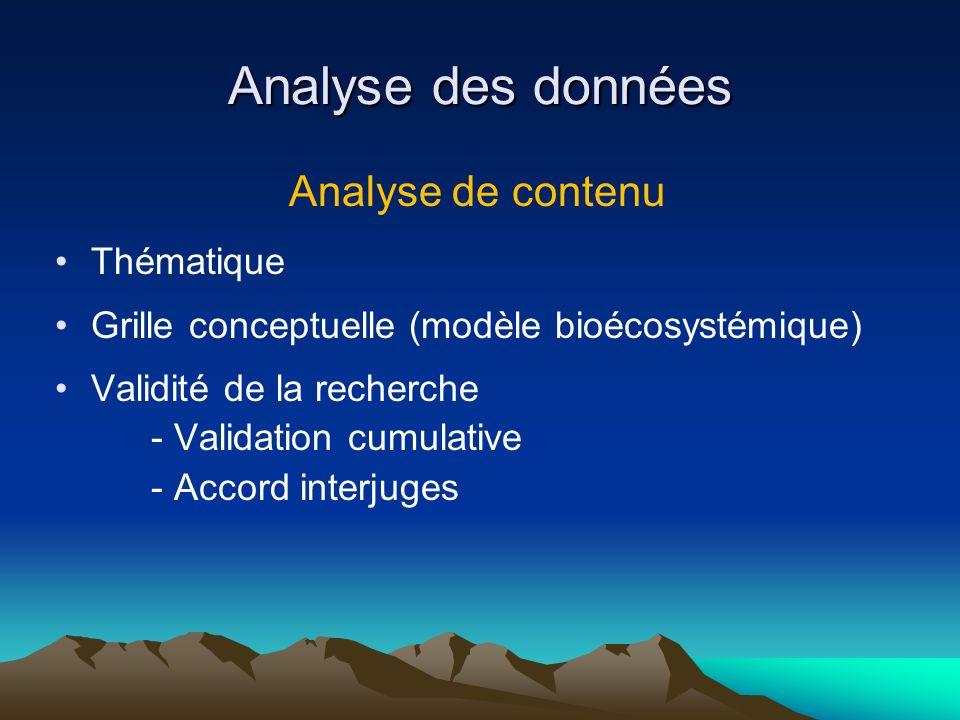 Analyse des données Analyse de contenu Thématique Grille conceptuelle (modèle bioécosystémique) Validité de la recherche - Validation cumulative - Acc