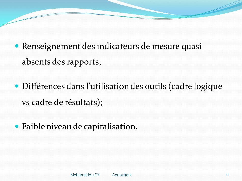 Renseignement des indicateurs de mesure quasi absents des rapports; Différences dans lutilisation des outils (cadre logique vs cadre de résultats); Faible niveau de capitalisation.