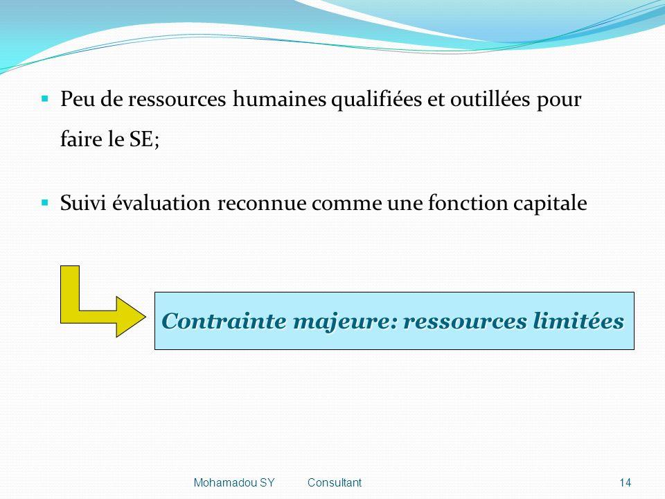 Peu de ressources humaines qualifiées et outillées pour faire le SE; Suivi évaluation reconnue comme une fonction capitale Contrainte majeure: ressources limitées 14Mohamadou SY Consultant