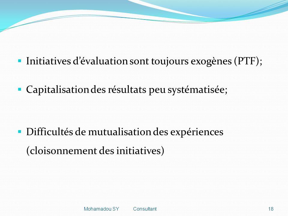 Initiatives dévaluation sont toujours exogènes (PTF); Capitalisation des résultats peu systématisée; Difficultés de mutualisation des expériences (cloisonnement des initiatives) 18Mohamadou SY Consultant