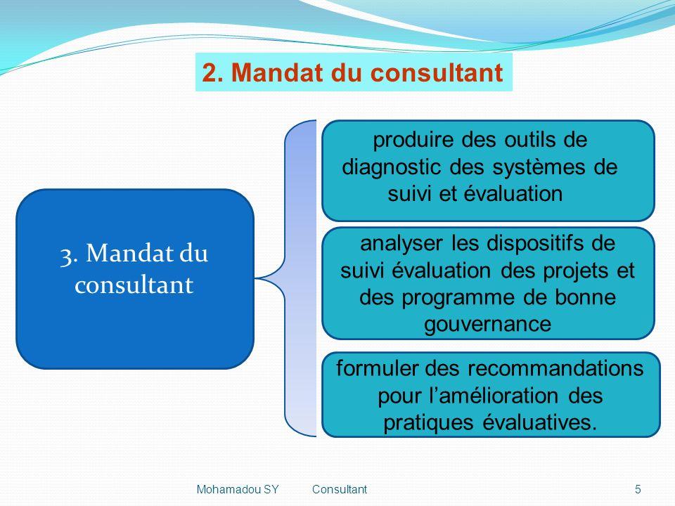 3. Mandat du consultant analyser les dispositifs de suivi évaluation des projets et des programme de bonne gouvernance formuler des recommandations po