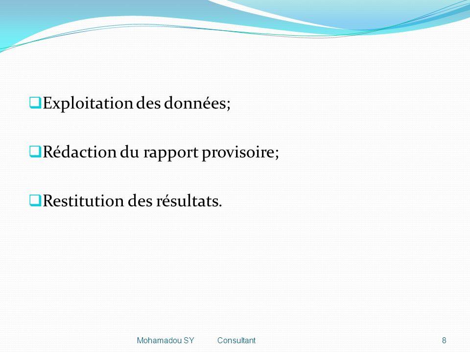 Exploitation des données; Rédaction du rapport provisoire; Restitution des résultats.
