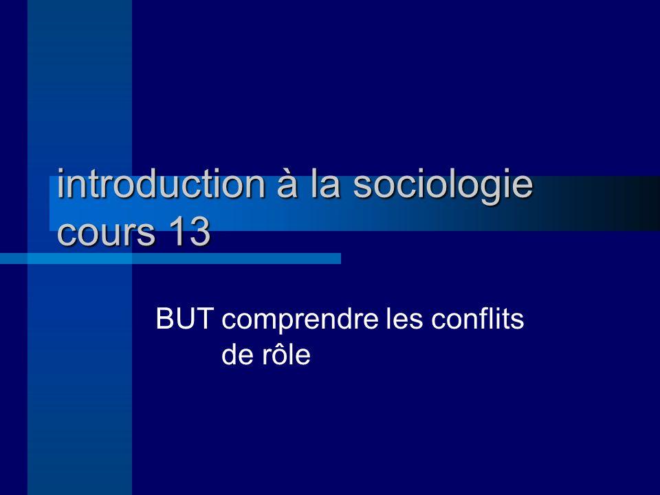 introduction à la sociologie cours 13 BUTcomprendre les conflits de rôle