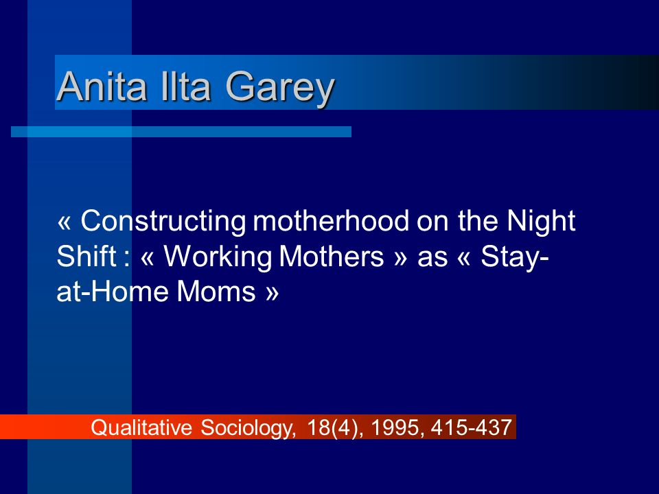 Anita Ilta Garey « Constructing motherhood on the Night Shift : « Working Mothers » as « Stay- at-Home Moms » Qualitative Sociology, 18(4), 1995, 415-