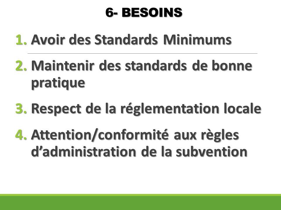6- BESOINS 1.Avoir des Standards Minimums 2.Maintenir des standards de bonne pratique 3.Respect de la réglementation locale 4.Attention/conformité aux