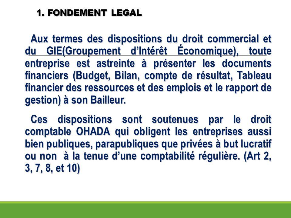 1. FONDEMENT LEGAL Aux termes des dispositions du droit commercial et du GIE(Groupement dIntérêt Économique), toute entreprise est astreinte à présent