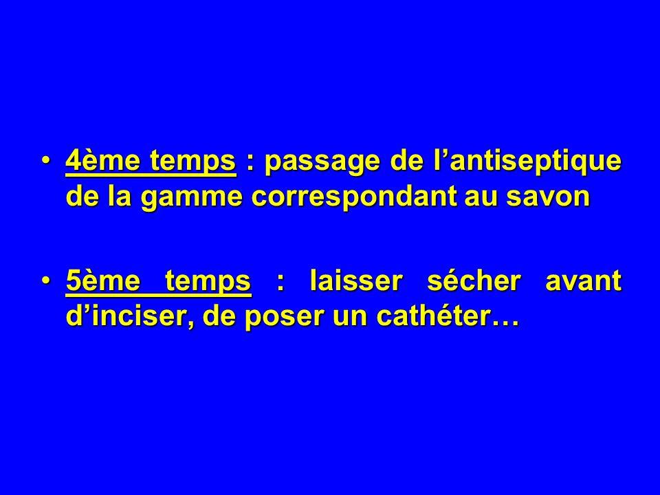 4ème temps : passage de lantiseptique de la gamme correspondant au savon4ème temps : passage de lantiseptique de la gamme correspondant au savon 5ème temps : laisser sécher avant dinciser, de poser un cathéter…5ème temps : laisser sécher avant dinciser, de poser un cathéter…