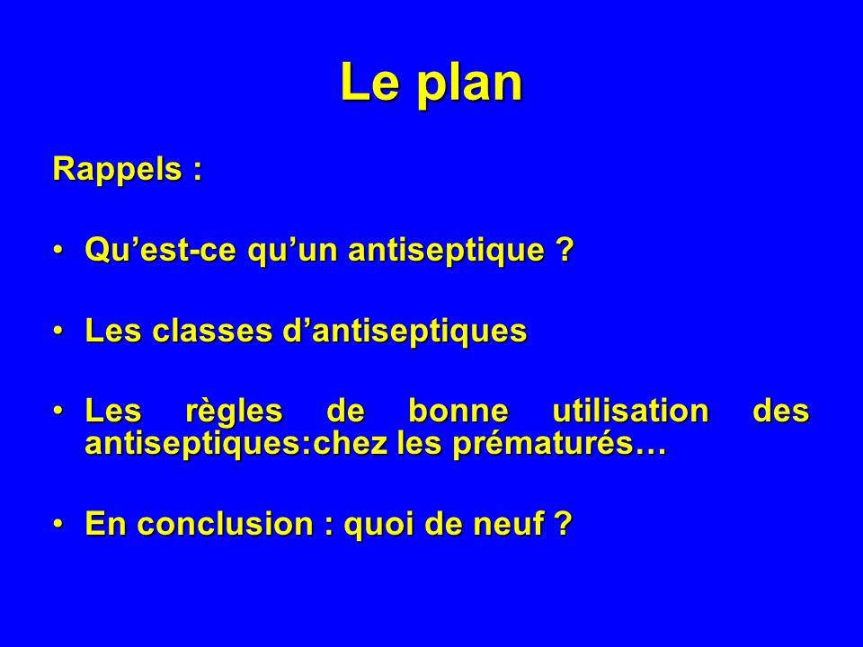 Le plan Rappels : Quest-ce quun antiseptique ?Quest-ce quun antiseptique ? Les classes dantiseptiquesLes classes dantiseptiques Les règles de bonne ut