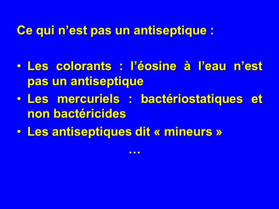 Ce qui nest pas un antiseptique : Les colorants : léosine à leau nest pas un antiseptiqueLes colorants : léosine à leau nest pas un antiseptique Les mercuriels : bactériostatiques et non bactéricidesLes mercuriels : bactériostatiques et non bactéricides Les antiseptiques dit « mineurs »Les antiseptiques dit « mineurs »…