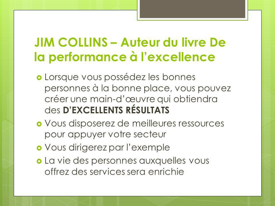 JIM COLLINS – Auteur du livre De la performance à lexcellence Lorsque vous possédez les bonnes personnes à la bonne place, vous pouvez créer une main-