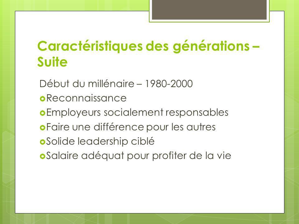 Caractéristiques des générations – Suite Début du millénaire – 1980-2000 Reconnaissance Employeurs socialement responsables Faire une différence pour