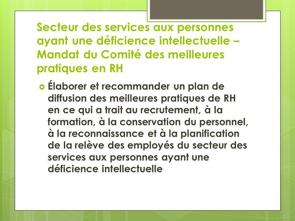 Secteur des services aux personnes ayant une déficience intellectuelle – Mandat du Comité des meilleures pratiques en RH Élaborer et recommander un pl