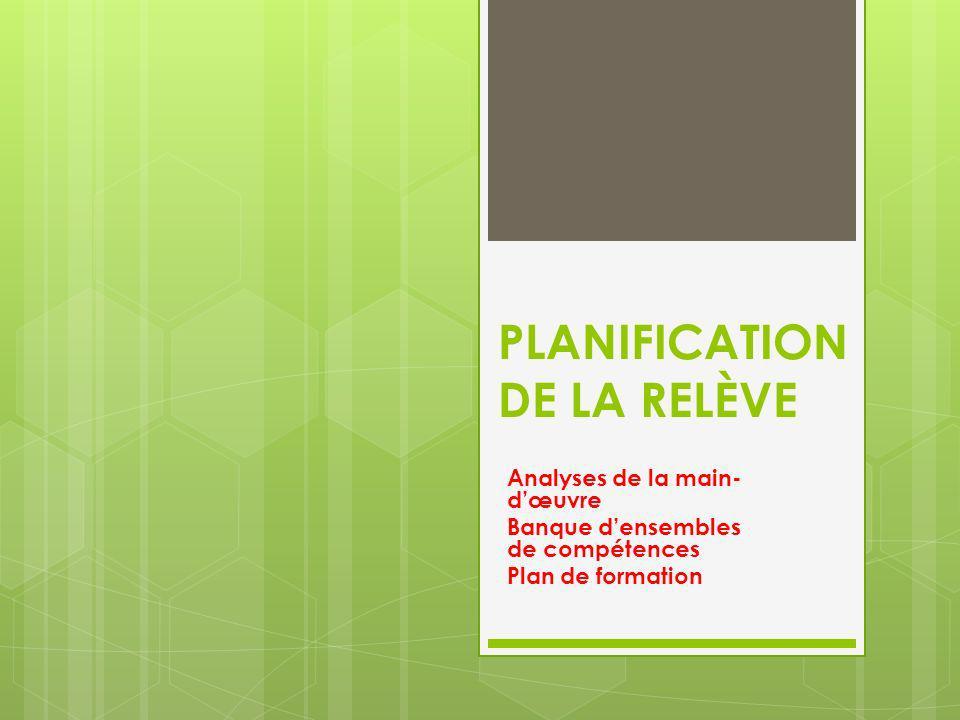 PLANIFICATION DE LA RELÈVE Analyses de la main- dœuvre Banque densembles de compétences Plan de formation
