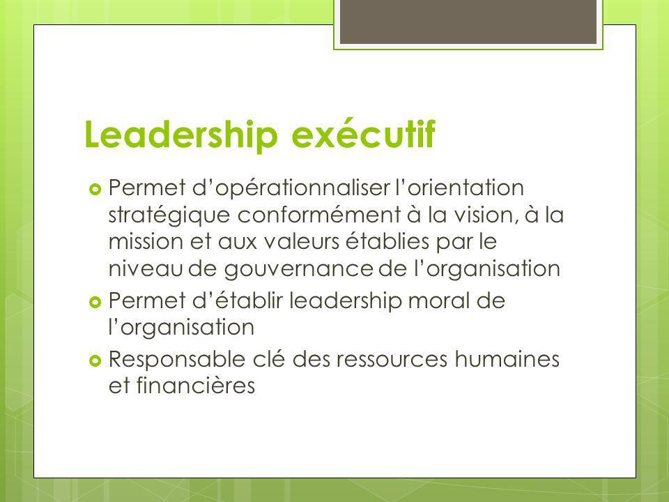 Leadership exécutif Permet dopérationnaliser lorientation stratégique conformément à la vision, à la mission et aux valeurs établies par le niveau de