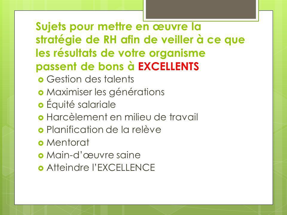 Sujets pour mettre en œuvre la stratégie de RH afin de veiller à ce que les résultats de votre organisme passent de bons à EXCELLENTS Gestion des tale