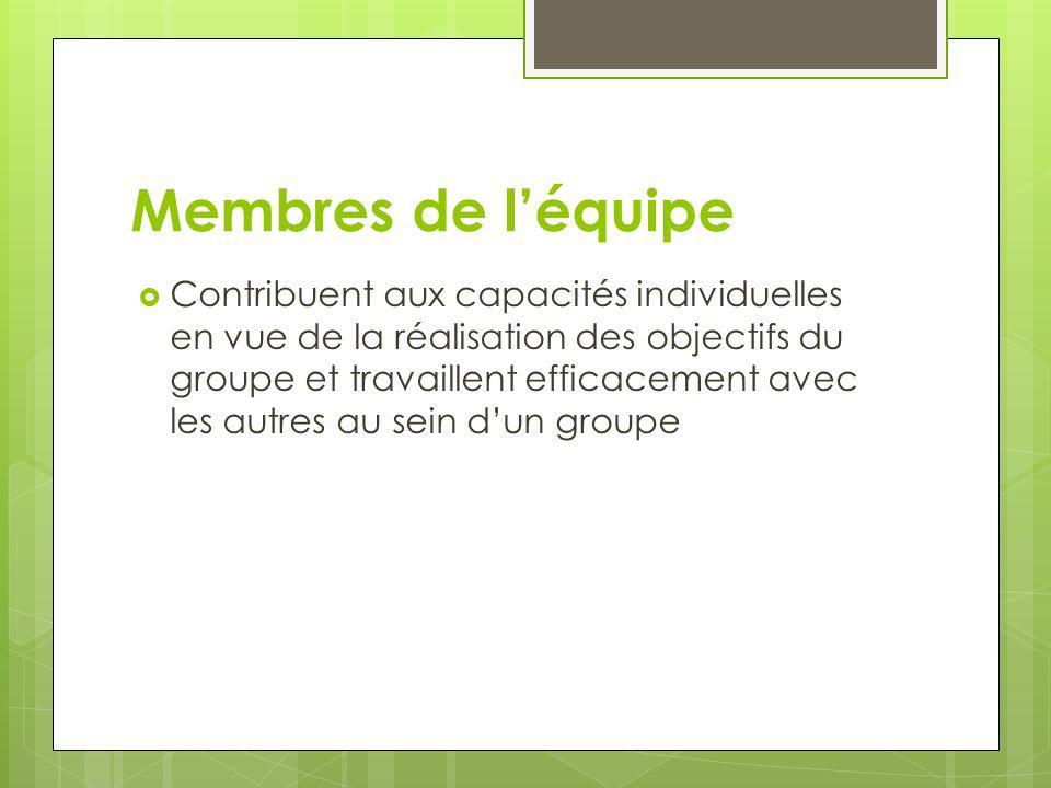 Membres de léquipe Contribuent aux capacités individuelles en vue de la réalisation des objectifs du groupe et travaillent efficacement avec les autre