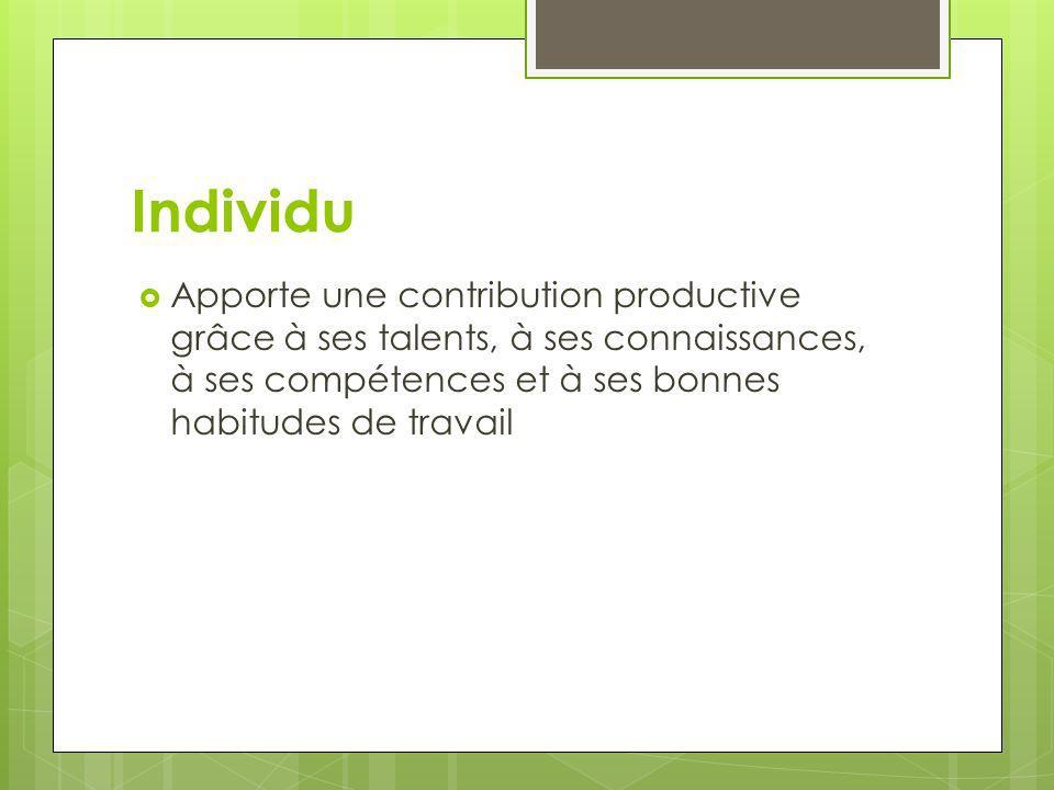 Individu Apporte une contribution productive grâce à ses talents, à ses connaissances, à ses compétences et à ses bonnes habitudes de travail
