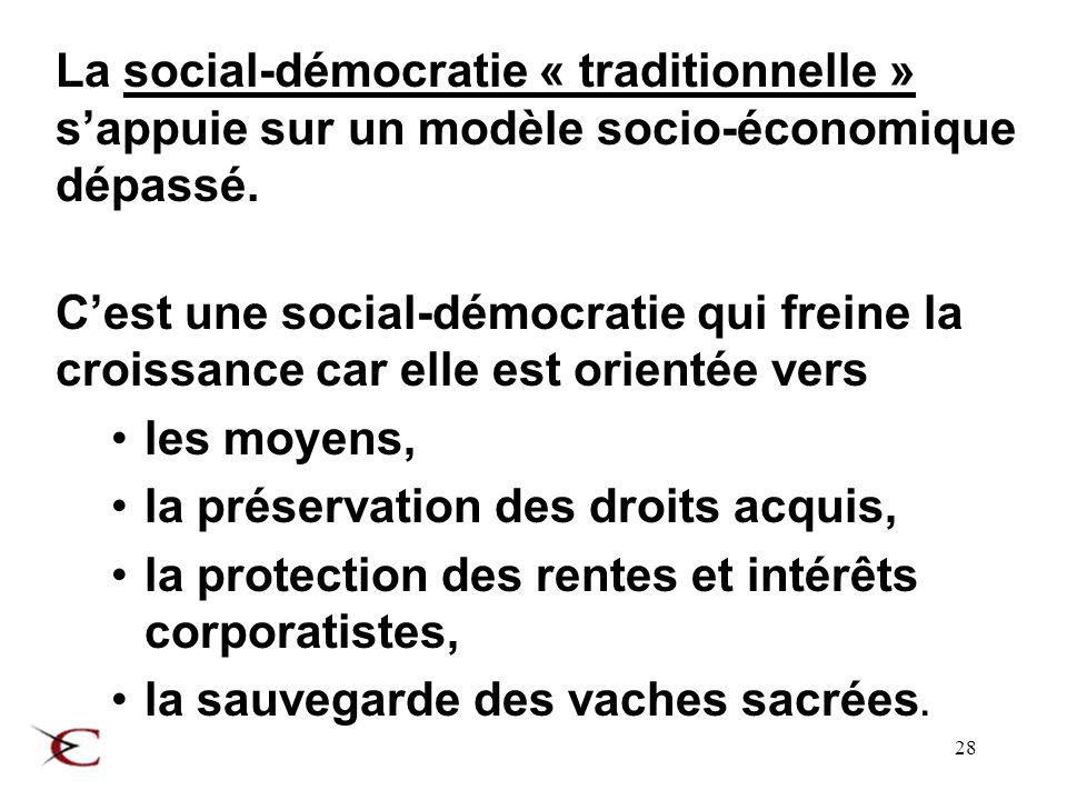 28 La social-démocratie « traditionnelle » sappuie sur un modèle socio-économique dépassé.