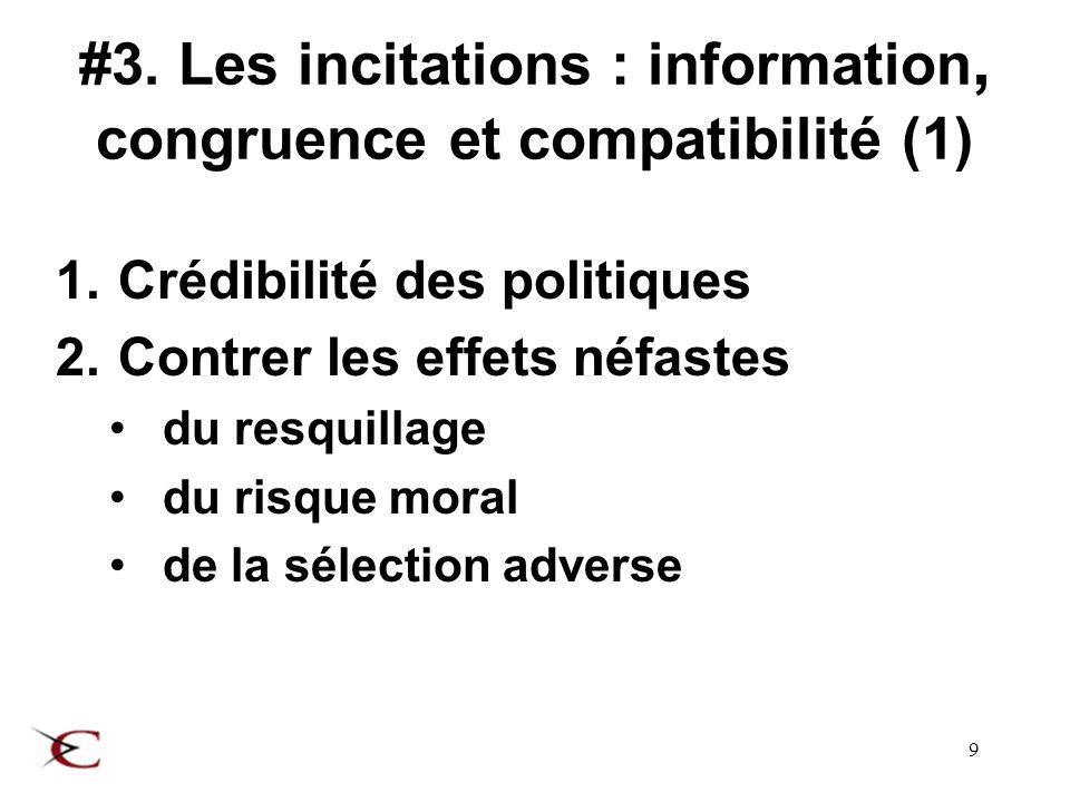 10 #3.Les incitations : information, congruence et compatibilité (2) 3.