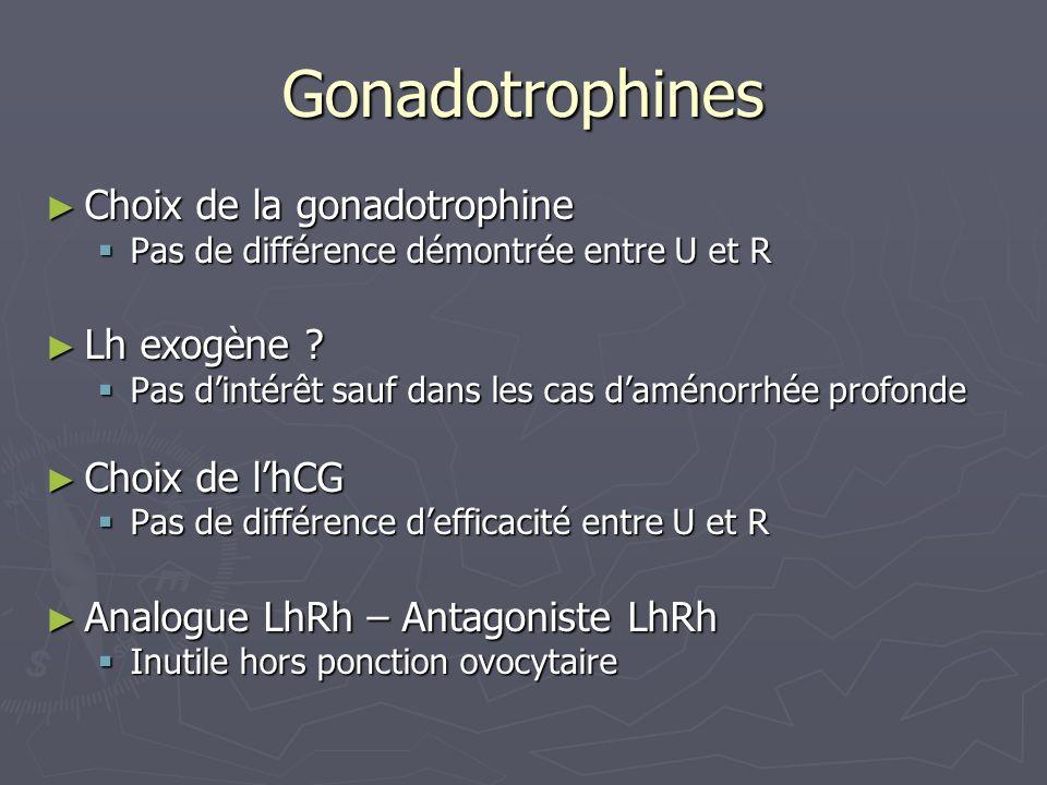 Gonadotrophines Choix de la gonadotrophine Choix de la gonadotrophine Pas de différence démontrée entre U et R Pas de différence démontrée entre U et R Lh exogène .