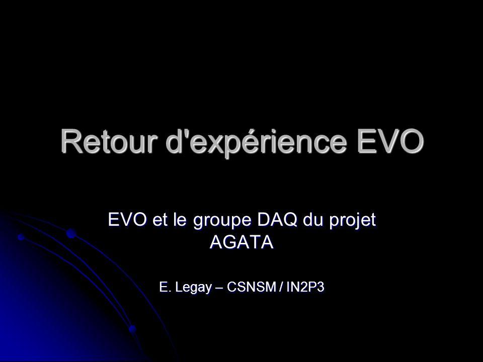 Retour d expérience EVO EVO et le groupe DAQ du projet AGATA E. Legay – CSNSM / IN2P3