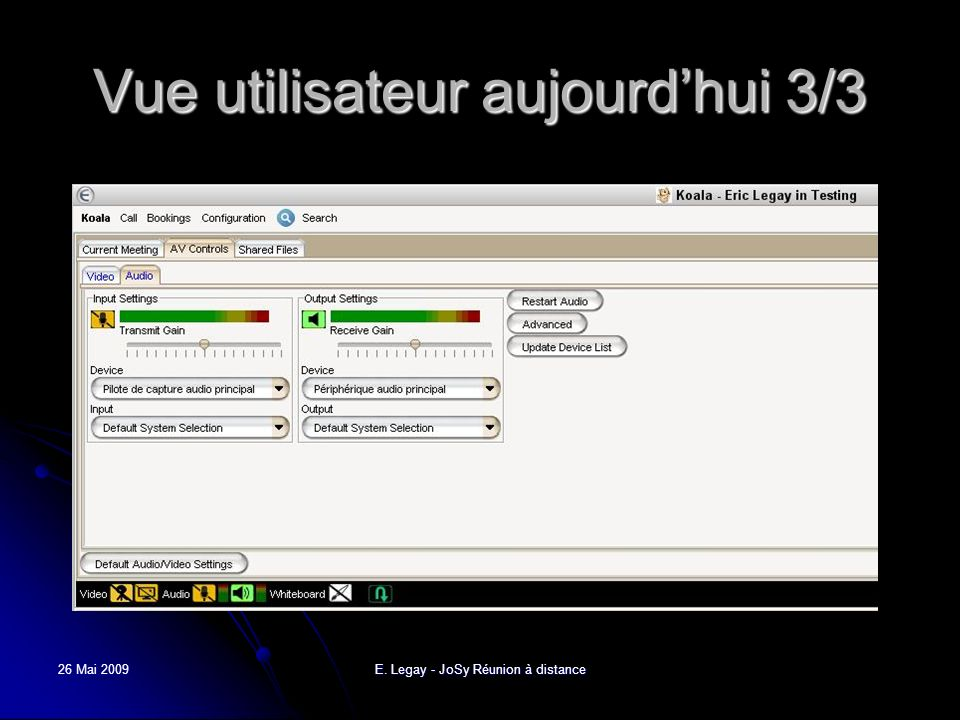 26 Mai 2009E. Legay - JoSy Réunion à distance Vue utilisateur aujourdhui 3/3