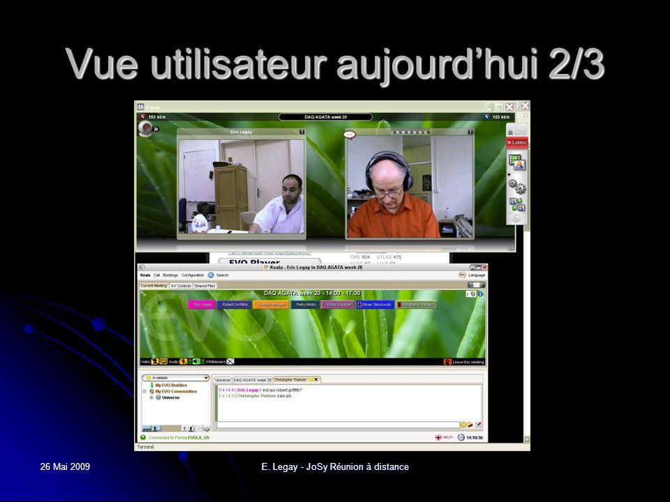 26 Mai 2009E. Legay - JoSy Réunion à distance Vue utilisateur aujourdhui 2/3