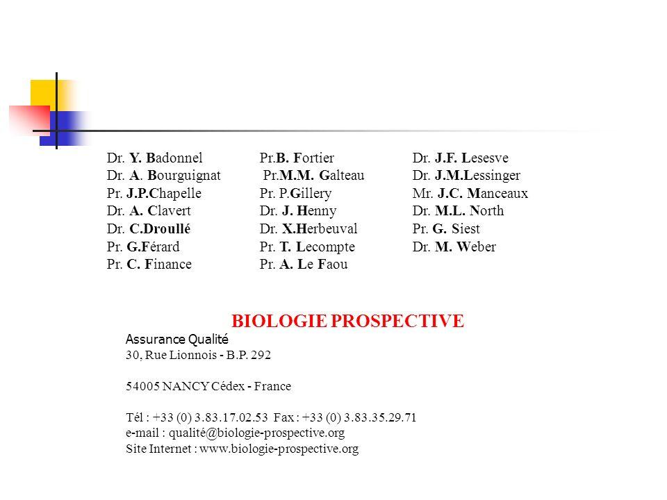 Dr. Y. Badonnel Dr. A. Bourguignat Pr. J.P.Chapelle Dr. A. Clavert Dr. C.Droullé Pr. G.Férard Pr. C. Finance Pr.B. Fortier Pr.M.M. Galteau Pr. P.Gille
