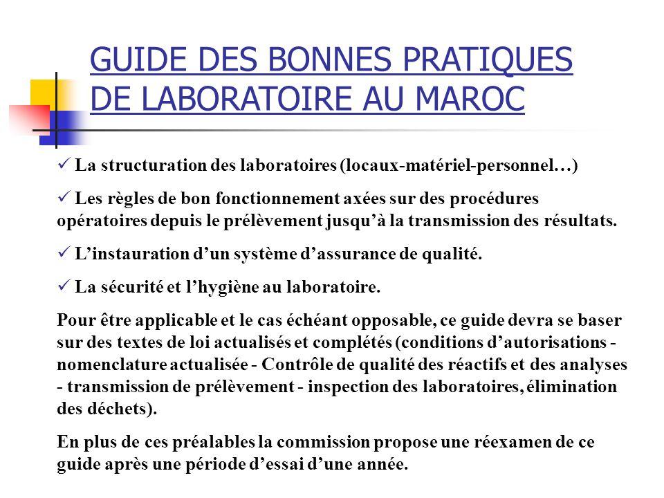 La structuration des laboratoires (locaux-matériel-personnel…) Les règles de bon fonctionnement axées sur des procédures opératoires depuis le prélève